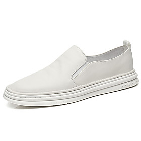 Men's Loafers  Slip-Ons Casual Daily Leather Wear Proof White Spring / Fall
