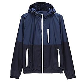 men's contrast zip front-zip jacket medium dark blue
