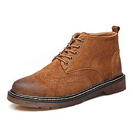 men's fashion ankle boots cursory high-top vintage and carven brogue work boots (color : light tan, size : 7.5 m us)
