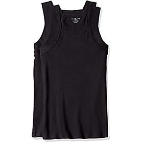 men's cotton comfort square cut tank multi pack, black, medium