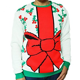 Men's Christmas Fruit Pullover Acrylic Fibers Long Sleeve Sweater Cardigans Crew Neck Winter White