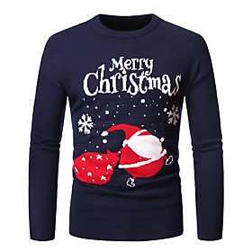 Men's Christmas Knitted Abstract Pullover Long Sleeve Sweater Cardigans Crew Neck Fall Winter Black Dark Gray Navy Blue
