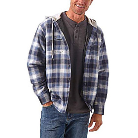 authentics men's long sleeve quilted lined flannel shirt jacket with hood, vintage night, x-large