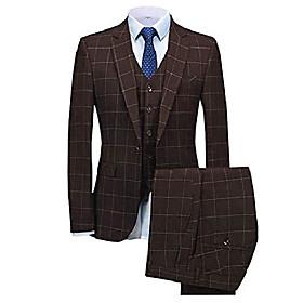 butamp; #39;s 3 pieces plaid suit formal slim fit suits one button notch lapel tuxedos blazer groomsmen amp; #40;blazer vest pantsamp; #41;amp; #40;34s,coffeea