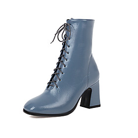 Women's Boots Block Heel Square Toe Classic Preppy Daily Party  Evening Lace-up Solid Colored PU Booties / Ankle Boots Black / Blue / Brown