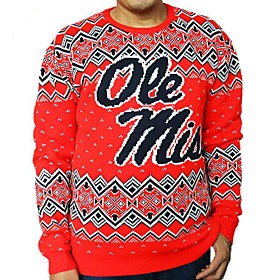 Men's Christmas Letter Pullover Acrylic Fibers Long Sleeve Sweater Cardigans Crew Neck Winter Red
