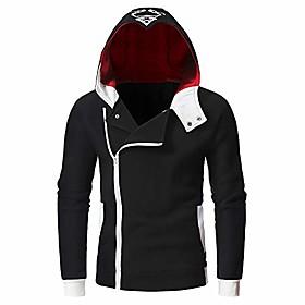 men's long sleeve zipper hoodie pullover sweatshirt with pocket warm jacket(black,l)