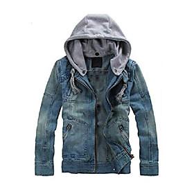 butamp; #39;s denim hoodie jacket casual full zip trucker jacket jean coat blue s