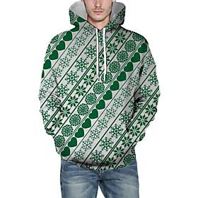 Men's Christmas Pullover Hoodie Sweatshirt Striped 3D Graphic Christmas Hoodies Sweatshirts  Green