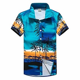 2019 newest men hawaiian print short t-shirt, sports beach quick dry blouse top blouse blue