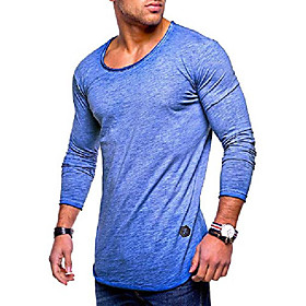 men's basic crewneck casual fashion hipster t-shirt muscle longline tee casual premium top mt-7315 (m,blue)