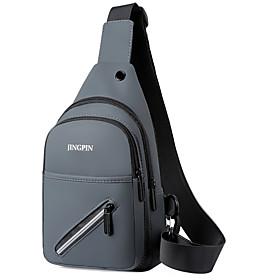 Men's Bags Polyester Sling Shoulder Bag Pattern / Print Zipper for Daily / Outdoor Black / Blue / Gold / Gray