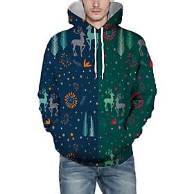 Men's Christmas Pullover Hoodie Sweatshirt 3D Graphic Reindeer Christmas Hoodies Sweatshirts  Navy Blue
