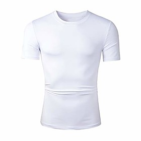 2 pack men's compression baselayer athletic workout short sleeve t shirts (sg011 white, l)