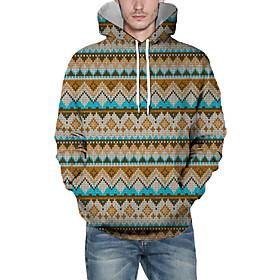 Men's Christmas Pullover Hoodie Sweatshirt Lines / Waves 3D Graphic Christmas Hoodies Sweatshirts  Yellow