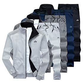 Men's 2-Piece Embroidered Tracksuit Sweatsuit Jogging Suit Casual Long Sleeve Front Zipper Fleece Thermal / Warm Windproof Soft Running Walking Jogging Sportsw