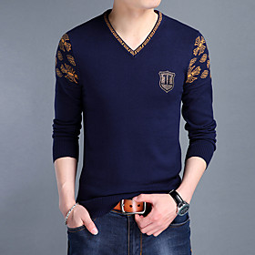 Men's 80' Christmas Embroidery Knitted Braided Leopard Floral Pullover Sweater Acrylic Fibers Long Sleeve Sweater Cardigans V Neck Fall Winter Red Yellow Navy