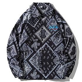 Men's Buttoned Front Jacket Regular Geometric Daily Black M L XL