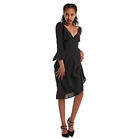 Women's A-Line Dress Knee Length Dress - 3/4 Length Sleeve Solid Color Ruched Patchwork Summer Fall V Neck Work Sexy 2020 Black Blue Khaki S M L XL XXL 3XL