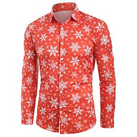 Men's Christmas Shirt Geometric Abstract Graphic Print Long Sleeve Tops Hawaiian Button Down Collar Red / Halloween