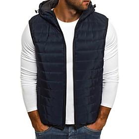 Men's Vest Parka Solid Colored Rayon Black / Blue / Red S / M / L