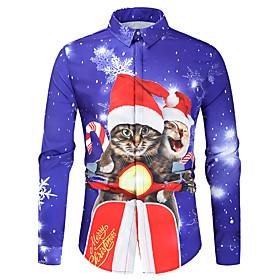 Men's Christmas Shirt Graphic Long Sleeve Tops Button Down Collar Blue