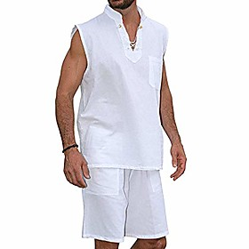 butamp; #39;s tank and shorts set 2020 summer cotton and linen fashion cool hippie shirts sleeveless suit fashion loose sweat suit for men plus size white