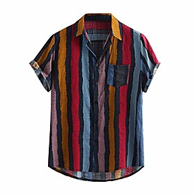 men's colorful summer short sleeve loose buttons casual shirt blouse