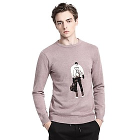 Men's Basic Knitted Abstract Pullover Long Sleeve Sweater Cardigans Crew Neck Fall Winter Blue Dusty Rose