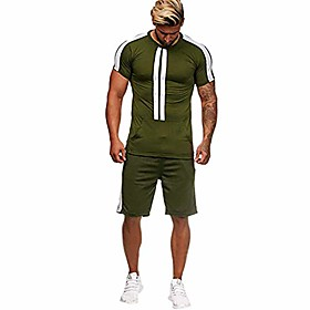 f_gotal men outfits 2 pieces fashion summer short sleeve tees amp;shorts sets splash-ink print loose casual tracksuit