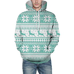 Men's Christmas Pullover Hoodie Sweatshirt Striped 3D Graphic Christmas Hoodies Sweatshirts  Light Green