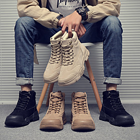 Men's Boots Classic / Casual / British Athletic Daily Walking Shoes Faux Leather Warm Waterproof Shock Absorbing Light Brown / Black / Khaki Fall / Winter