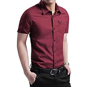 men's casual short sleeve shirts slim fit button down dress shirt 3160 wine 5xl/us xl