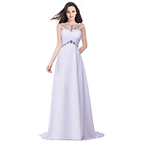 A-Line Elegant Minimalist Wedding Guest Formal Evening Dress Illusion Neck Sleeveless Sweep / Brush Train Chiffon with Pleats Crystals 2020