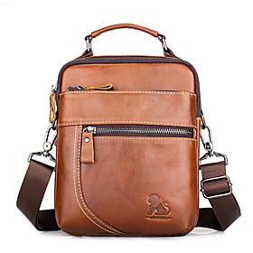 Men's Bags Cowhide Crossbody Bag Zipper for Daily / Office  Career Black / Brown / Coffee