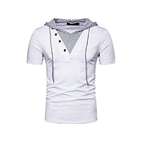 butamp; #39;s short sleeve hoodie t-shirt casual slim fit workout pullover hooded shirts amp; #40;white, xxlamp; #41;