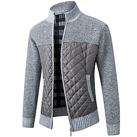 Men's Color Block Cardigan Long Sleeve Sweater Cardigans Stand Collar Black Light gray Dark Gray