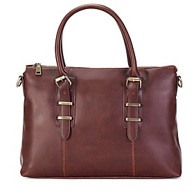 Men's Bags PU Leather Briefcase Zipper for Office  Career Light Coffee / Black / Coffee