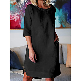 Women's A-Line Dress Knee Length Dress - 3/4 Length Sleeve Solid Color Print Summer Plus Size Casual Going out Loose 2020 White Black S M L XL XXL 3XL 4XL 5XL
