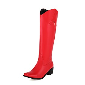 Women's Boots Block Heel Square Toe Vintage Preppy Daily Party  Evening Solid Colored PU Knee High Boots White / Black / Light Red