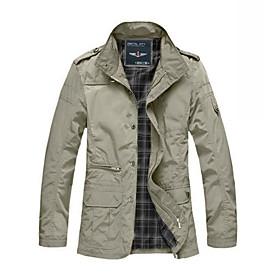 Men's Jacket Long Solid Colored Daily Basic Black Khaki M L XL