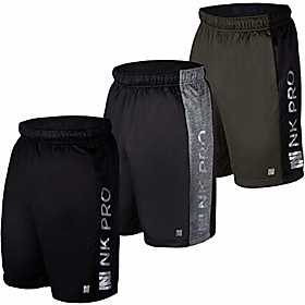 3pk mens athletic shorts, mens mesh shorts for basketball, running, gym
