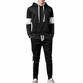 men's casual pullover tracksuits 2 pieces sets outdoor sports jogging hooded sweat suits black
