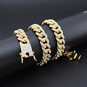 Men's Necklace Cuban Link Hope European Alloy Gold Silver 45 cm Necklace Jewelry 1pc For Gift