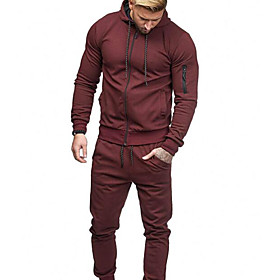 Men's Hoodie Solid Colored Hoodies Sweatshirts  Black Blue Red