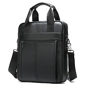 Men's Bags Cowhide Crossbody Bag Zipper for Daily Black Grey / Black