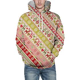 Men's Christmas Pullover Hoodie Sweatshirt Striped 3D Graphic Christmas Hoodies Sweatshirts  Fuchsia