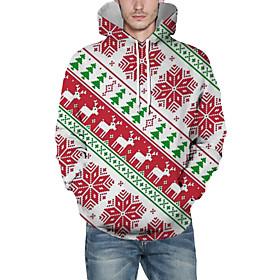 Men's Christmas Pullover Hoodie Sweatshirt 3D Graphic Reindeer Christmas Hoodies Sweatshirts  Red