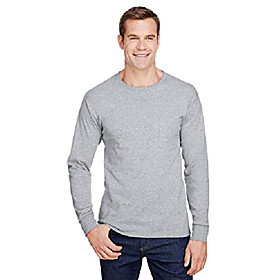 adult workwear long-sleeve pocket t-shirt l light steel
