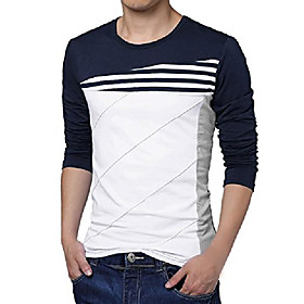 men's color block shirt striped panel round neck long sleeve pullover t-shirt blue 40
